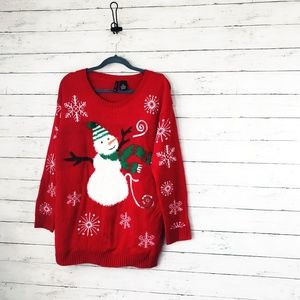 New Directions Christmas Snowman Red Sweater - XL
